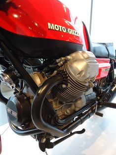 A 1978 Moto Guzzi 850 Le Mans on display with other classic motorcycles at the Barber Vintage Motorsports Museum in Leeds, Ala.