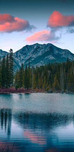 Mount Lorette, pond, mountains, sunset, nature, 1440x2960 wallpaper