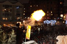 Fire & Ice show tonight (Sunday) in Whistler village at the base of Whistler Blackcomb mountains. Photo by: Matt Murray