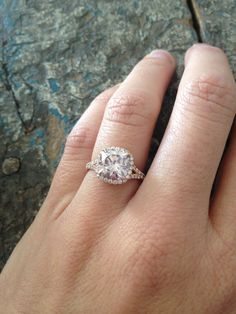 8mm barely pink cushion in 14k rose gold, engagement ring.    Joseph Schubach Jewelers