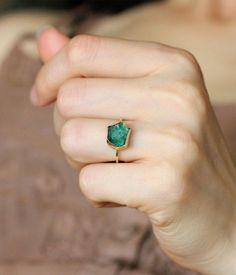 raw emerald ring. #jewelry.