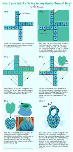 Lining Tutorial for the Haekelbeutel Bag or any granny squares type crocheted bag.