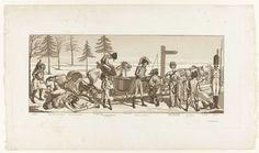 Gottfried Schadow | Spotprent op de terugtocht van Napoleon uit Rusland (La Retraite de la Renommée), Gottfried Schadow, J.J. Blaise, after 1813 | In een vlak, winters landschap staan een aantal franse soldaten, een vrouw, een rus en een egyptische koopman, bij een slee en een paar magere paarden. Een wegwijzer wijst naar NACH POSEN. Onder de prent wordt de allegorische betekenis van de figuren aangegeven: Observation et Reflection, ...Esperance.