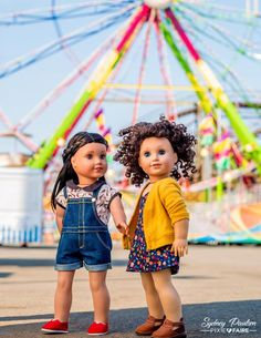 doll clothes pattern our american girl dolls look great at the state fair! care for curly american girl doll hair American Girl Doll Costumes, Custom American Girl Dolls, American Girl Doll Pictures, Girl Pictures, Ag Doll Clothes, Doll Clothes Patterns, Clothing Patterns, Dress Patterns, Diy Clothes