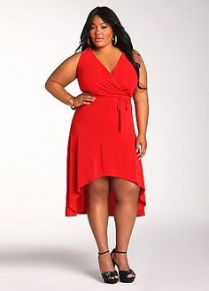 Ashley Stewart: Wrap Front Dress  another dress from one of my favorite stores...my plus size diva's do not be afraid to show a little leg and the wrap style of this dress complements any full figure shape