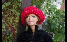 Как связать шапочку, шляпку и короткие сапожки для Барби.  Wie Kappe Bar...