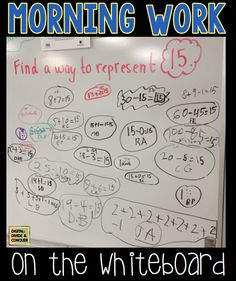 Cut down on paperwork by making morning work happen on the whiteboard (or chalkboard). Great way for kids to show they know!