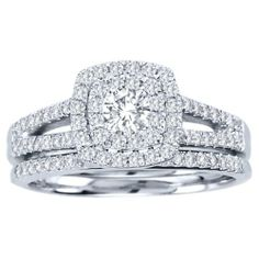 10Kt White Gold 0.75 Carat Diamond Halo Engagment Bridal Ring Set (Available in Size 6-9) MESSAGE US AFTER PURCHASE FOR THE SIZE THAT YOU WANT!!! Elizabeth Jewelry Inc,http://www.amazon.com/dp/B00ILIS2XU/ref=cm_sw_r_pi_dp_TEwctb083CTW9CQG