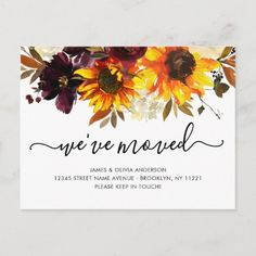 We've Moved Autumn Boho Sunflower Blooms Moving Announcement Postcard Watercolor Sunflower, Floral Watercolor, Holiday Cards, Christmas Cards, Christmas Wedding, Christmas Postcards, Christmas Stuff, Floral Wedding Save The Dates, Moving Announcements