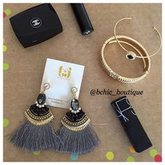 """Black & Grey Tassel Earrings Stunning black and grey tassel earrings by T&J Designs