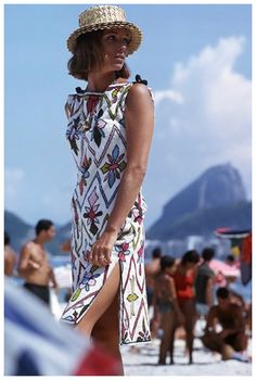 Elsa Martinelli in a Pucci terry beach dress on Rio's Copacabana Beach, photo by Willy Rizzo, 1959