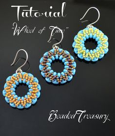 "Earrings beading tutorial, superduo bead pattern, beading pattern, seed beads pattern. ""Wheel of Time"". TUTORIAL ONLY"