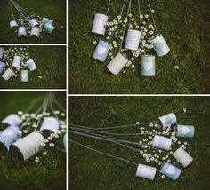 DIY wedding car 'just married' tin can trail.