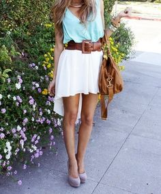 love the white high-low skirt outfit-inspiration