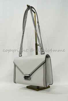 84da856834a6 NWT Michael Kors Whitney Large Leather Shoulder Bag in Aluminium  Pearl  Grey  MichaelKors