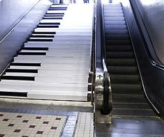 This is one of the few times I'd choose to take the stairs rather than the escalator. Unless they painted the escalator like a piano, then it'd be a no-brainer.