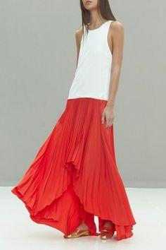 Lauri Pleated Silk Contrast Colorblock Dress