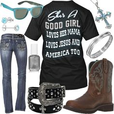 She's A Good Girl, Loves Her Mama, Loves Jesus And America Too Outfit - Real Country Ladies