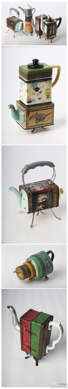 Adorable teapots. Well, composite teapots. Well, teapot-shaped pieces of art things. :)