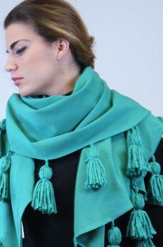 #MarinaFinzi #shawl with a nice fringe! Color your outfit! shop.marinafinzi.com