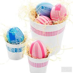 We're stuck on these gorgeous patterned Easter eggs. Give them more than a dye job using colorful gingham washi tape! http://www.bhg.com/holidays/easter/eggs/pretty-no-dye-easter-eggs/?socsrc=bhgpin031715ginghamtapeeastereggs&page=5