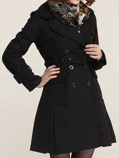 a5f9196945b Trendy Lapel Breasted Plain Overcoats Breast