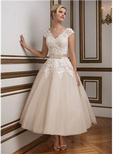 Simple Ankle-length A-Line V Neck Zipper-Up Tulle Beach Wedding Dress