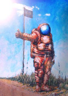 Hitchhiking astronaut by Daniil dakins Viatkin, via Behance