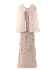 Mother of the Bride Dresses - HarveyBridal Crystal Mother of the Bride Dress with Long Sleeve Jacket Champagne *** Visit the image link more details.