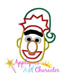 Sesame Christmas Bert Street Applique Embroidery Machine Design 4 Hoop sizes Instant Download by appliqueswcharacter on Etsy