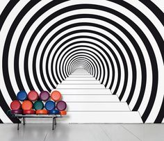 A #wallpaper creating an #illusion of a never ending path.