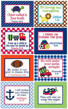 Bible verses for boy's room.