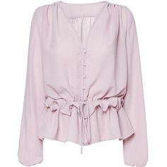 Unbelievable Blouse (€35) ❤ liked on Polyvore featuring tops, blouses, pink ruffle top, flutter-sleeve top, ruffle blouse, flounce tops and ruffle top