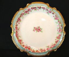 50% OFF! Magnificent Limoges Porcelain Cabinet Plate ~ Hand Painted with Dainty Pink & White Rose ~ Latrille freres / Coronet 1906 – 1913