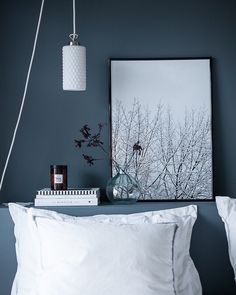 The ' Snowy Tree' print in the beautiful blue-grey bedroom of @suvim_valkoinenharmaja #cocolapine