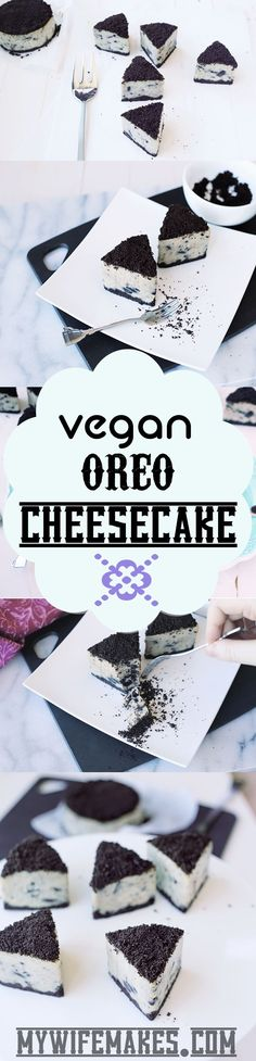 Delicious Vegan Oreo Cheesecake Cashew based easy to make and 100 Delicious Yummmm Vegan Treats, Vegan Foods, Vegan Dishes, Patisserie Vegan, Fromage Vegan, Vegan Cheesecake, Vegan Kitchen, Crazy Kitchen, Vegan Dessert Recipes