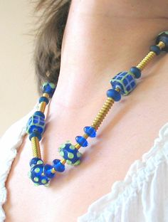Handmade indian glass beads necklaces with brass by murmurbeads