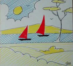 Buy Red sailboats, Drawing by Jack  O'Hara on Artfinder. Discover thousands of other original paintings, prints, sculptures and photography from independent artists.