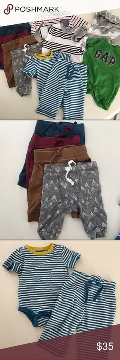 Lot of Baby Gap & Old Navy Boys Clothes 0-3 months The pants on the left are all old Navy, as well as the long sleeve striped shirt. The short sleeve shirt, the striped matching onesie outfit, the short sleeve Romper and the long sleeve hoodie are all baby Gap. All in excellent condition. All size 0-3 months. All cotton GAP Other