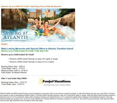 Vacation at the Atlantis in the Bahamas and receive $300 air credit and kids stay free! Call Mar Y Sol Vacations for your reservations (832) 497-5312 www.marysolvacations.com