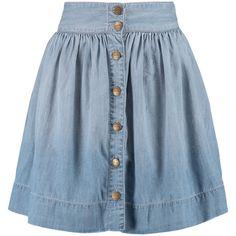 Current/Elliott The Lolipop denim mini skirt (1 500 ZAR) ❤ liked on Polyvore featuring skirts, mini skirts, light denim, current elliott skirt, blue skirt, short denim skirts, blue denim mini skirt и elastic waist mini skirt