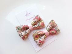 Girls/Baby Hair Clip Set Pink Flower Print by BowtiquebyprincessT, $6.90