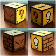 3D Perler Bead Mario Piggy Bank by Puppylover5
