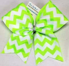 Bows by April - Lime Green with White Chevrons Ribbon Cheer Bow, $10.00 (http://www.bowsbyapril.com/lime-green-with-white-chevrons-ribbon-cheer-bow/)