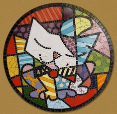 Quadro em mosaico art pop Romero Britto The Blue Cat Mosaic Wall Art, Mosaic Glass, Mosaic Tiles, Stained Glass, Glass Art, Painted Stools, Mosaic Stepping Stones, Mosaic Animals, Arte Country
