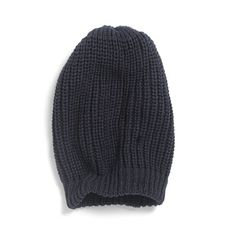 Soft Knit Hat Navy blue+Grey marl
