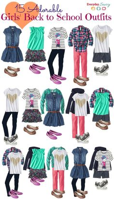 School clothes for girls. 15 Mix and Match back to school outfits for girls at great prices! Women, Men and Kids Outfit Ideas on our website at 7ootd.com #ootd #7ootd
