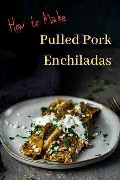 These Pulled Pork Enchiladas are made with melt-in-your-mouth pulled pork, black beans, and the most incredible spicy, creamy roasted poblano cream sauce! Healthy Pork Recipes, Meat Recipes, Mexican Food Recipes, Chicken Recipes, Pulled Pork Enchiladas, Healthy Mexican Casserole, Making Pulled Pork, Homemade Enchiladas, Pasta Dinner Recipes