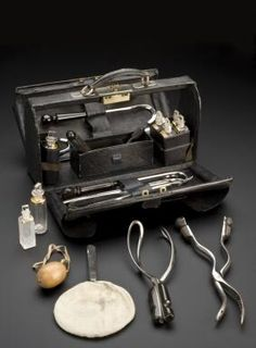 Midwifery Bag, - containing destructive and non-destructive instruments. This bag would have belonged to a male midwife as female… Male Midwife, Call The Midwife, Science Museum London, Vintage Nurse, Modern History, Women's History, Medical History, Midwifery, Medical Equipment