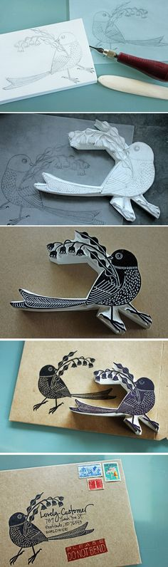 #bird #ink #packaging #stamp